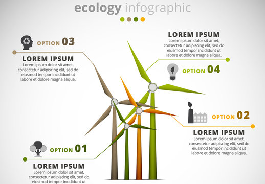 Ecology Infographic with Wind Turbine Element