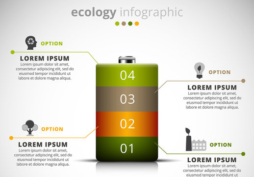 Ecology Infographic with Battery Illustration Element