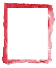 Abstract red watercolor frame and white space