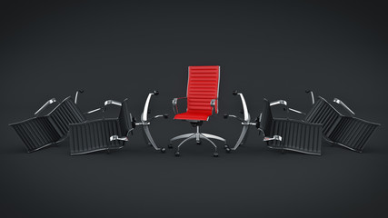 Office chair concept . 3d rendering