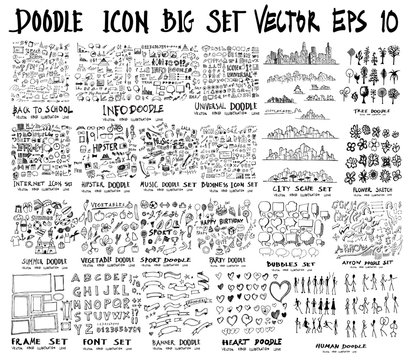 Mega set of doodles. collection of Back to school, Arrow , data, love, bubble, summer, music, flower, people, frame