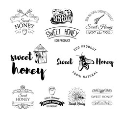 Beehive. Spoon of Honey. Flower. Honeycomb. A bee and a jar of Honey. Labels, logo and Badges Set. Vintage Illustration Vector