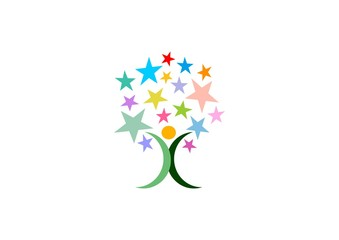 stars tree logo, people celebration tree logo symbol icon, tree star celebrate sign vector design template