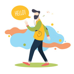 Hipster walking and listening to music on white background.  Isolated object in flat cartoon style. Vector illustration.