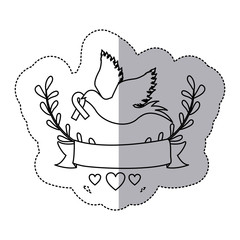sticker arch of leaves and label with silhouette pigeon with ribbon in the peak vector illustration