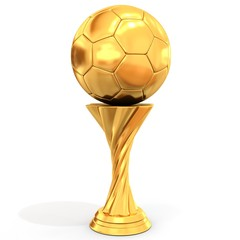golden trophy with soccer ball