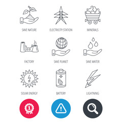Achievement and search magnifier signs. Save nature, planet and water icons. Minerals, lightning and solar energy linear signs. Battery, factory and electricity station icons. Hazard attention icon