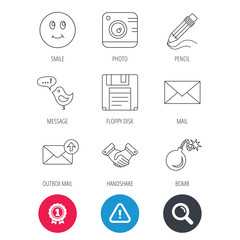 Achievement and search magnifier signs. Photo camera, pencil and handshake icons. Inbox e-mail, message speech bubble and smile linear signs. Hazard attention icon. Vector