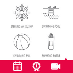 Achievement and video cam signs. Shampoo, swimming pool and ball icons. Steering wheel linear sign. Calendar icon. Vector