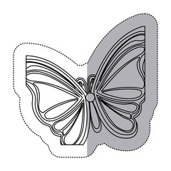 sticker silhouette with a butterfly vector illustration
