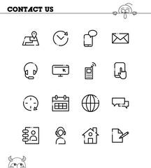 Contact us flat icon set.