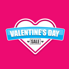 Valentines day heart sale tag isolated on pink