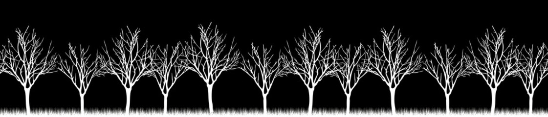 Vector. Stylized tree, Silhouettes of trees , seamless texture w