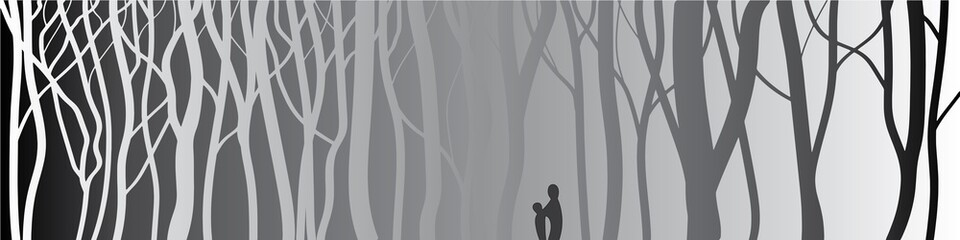 Stylized tree, Silhouettes of trees.