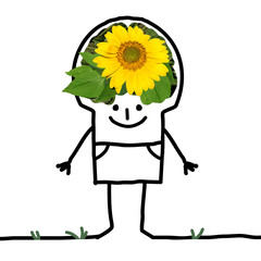 Cartoon Big Brain Man - sunflower and smile