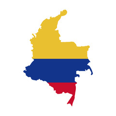 map with colors colombian flag vector illustration