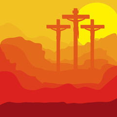 picture of sunset crucifix design vector illustration