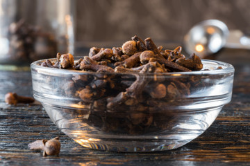 Whole cloves in an ingredient bowl
