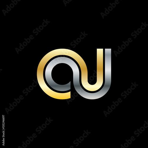 initial letter ou oj cu cj linked design logo stock image and