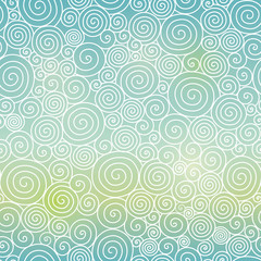 Vector Blue Green Sky Gradient Abstract Swirls Seamless Pattern Background. Great for elegant texture fabric, cards, wedding invitations, wallpaper.