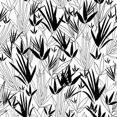 Vector Black and White Asian bamboo Kimono Seamless Pattern Background. Great for elegant gray texture fabric, cards, wedding invitations, wallpaper.