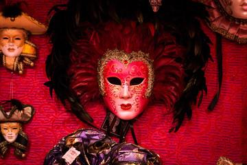 Venetian masks at the Colmar Christmas Market
