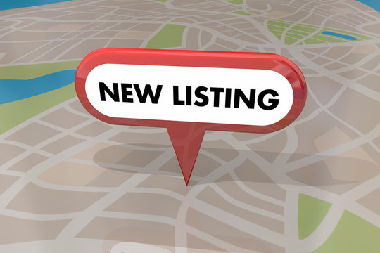 New Listing Home House for Sale Real Estate Map Pin 3d Illustrat