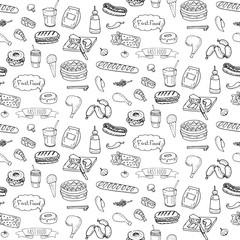 Seamless pattern Hand drawn doodle Fast food icons set. Vector illustration. Junk food elements collection. Cartoon snack various sketch symbols: soda, burger, potato,hot dog, pizza, donut, popcorn