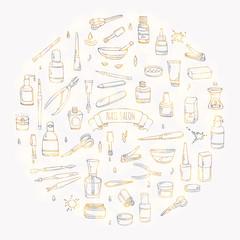 Hand drawn doodle Nail salon icons set. Vector illustration. Manicure accessories collection. Cartoon various sketch pedicure tools elements: polish, bottle, brush, varnish, scissors, lotion, cream