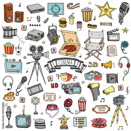 Hand drawn doodle Cinema set  Vector illustration  Movie