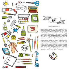 Hand drawn doodle Art and Craft tools icons set. Vector illustration design instruments symbols collection. Cartoon various tools: Brush Watercolor Paint Artist elements on white background. Sketch.