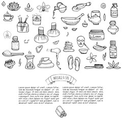 Hand drawn doodle Massage and Spa icons set Vector illustration relaxing symbols collection Cartoon beauty care concept elements health care Wellness treatment Body massage Lifestyle Skin care Spa