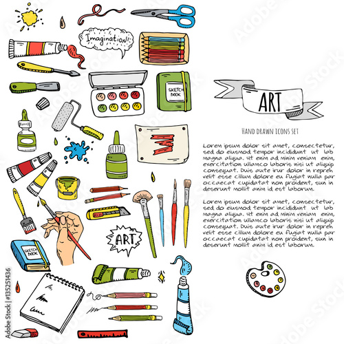 Hand Drawn Doodle Art And Craft Tools Icons Set Vector Illustration