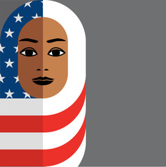 illustration of Muslim woman wearing Hijab of the American flag, in symbolic support of all immigrants in the united states.