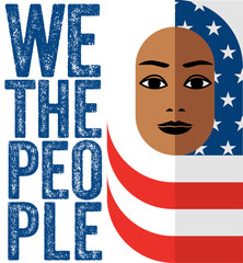 Muslim woman wearing Hijab of the American flag, in symbolic support of all immigrants with text We The People.