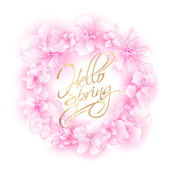 Round gentle frame with cherry flowers, wreath of Sakura with a soft blurred shade of pink with butterflies and the golden lettering - Hello Spring