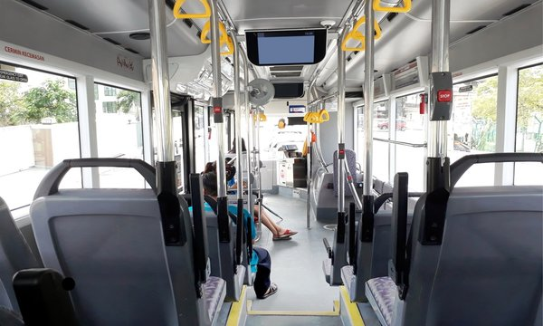 View from inside of the city bus