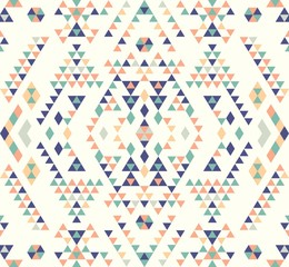 Seamless Ethnic pattern textures. Coral & Teal colors. Navajo geometric print. Rustic decorative ornament. Abstract geometric pattern. Native American pattern. Ornament for the design of clothing