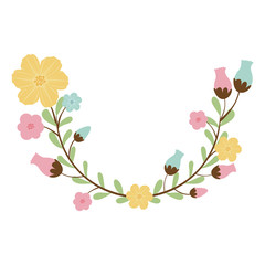 colorful decorative half arch with flowerbud vector illustration