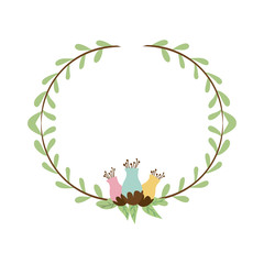 decorative half border with leaves and flowerbud vector illustration