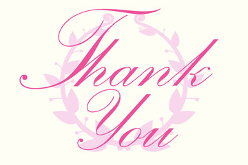 Thank You Vector Letter with  round frame branch of ivy