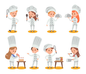 Happy kids is cooking and having fun in the kitchen vector desig