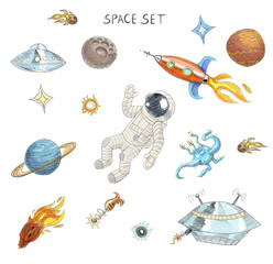 Drawing of colorful space objects: astronaut, alien, ufo, spaceship, comet, planets and stars.