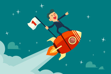 businessman holding flag on flying rocket