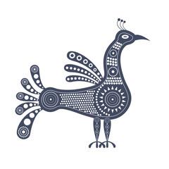 Синее графическое изолированное декоративное изображение стоящей птицы в племенном стиле с узорами внутри.