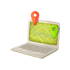 Navigation application on laptop computer screen. Map with GPS location mark displayed in portable PC monitor. Deliveri and shipping concept cartoon vector illusrtration