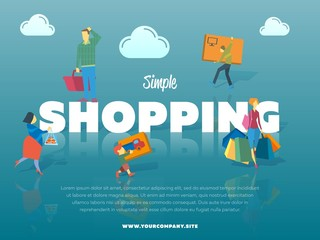 Simple shopping banner with people vector illustration. Let's go shopping concept. People characters carrying shopping bag, basket and packing box. Family shopping tour in mall mall or supermarket