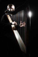 Harp player Irish harpist playing musical instrument