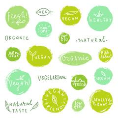 Set of food badges. Vegan natural organic gluten free. Vector hand drawn labels.