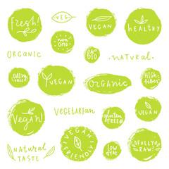Set of hand drawn food badges. Natural, organic, vegan, bio etc. Vector labels